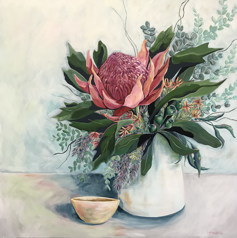 "(CreativeWork) ""The Waratah"" by Emma Nancarrow. arcylic-painting. Shop online at Bluethumb."