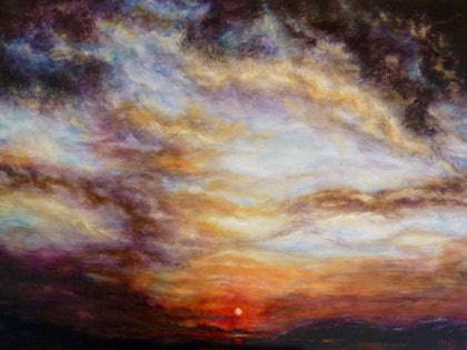 (CreativeWork) Day's End by Cathy Yarwood - Mahy. arcylic-painting. Shop online at Bluethumb.