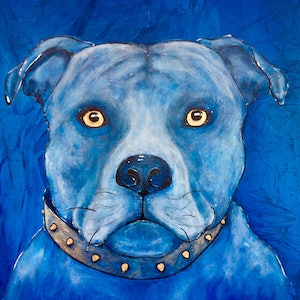 (CreativeWork) Year of the Dog series by Lynette Kring. arcylic-painting. Shop online at Bluethumb.
