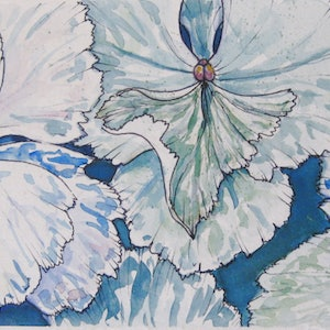 (CreativeWork) Hydrangea #1 by Michelle Pujol. watercolour. Shop online at Bluethumb.