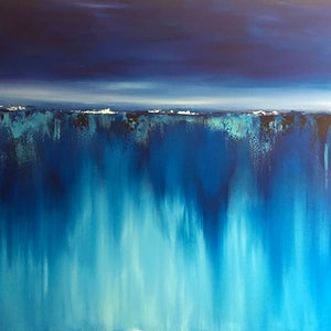 (CreativeWork) BLUE AURORA  (large 122x92cm)   by Kat Las. arcylic-painting. Shop online at Bluethumb.