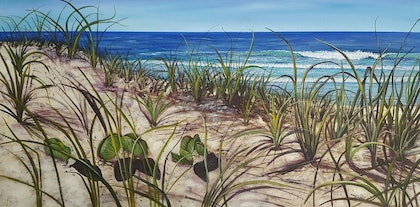 (CreativeWork) Beauty beyond the grasses by Karin Brear. arcylic-painting. Shop online at Bluethumb.