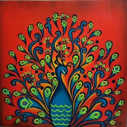 (CreativeWork) Dance of Spring by Shoma Anand. arcylic-painting. Shop online at Bluethumb.