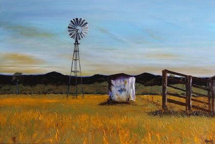 (CreativeWork) Country Life by Angie Aubert. oil-painting. Shop online at Bluethumb.