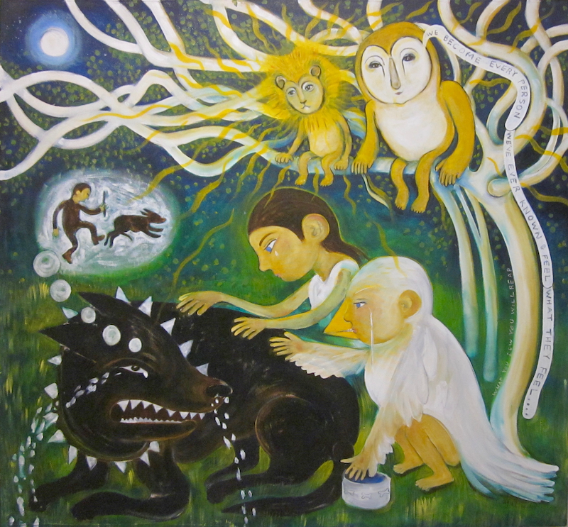 (CreativeWork) children and the angry dog by alexa e franka. oil-painting. Shop online at Bluethumb.