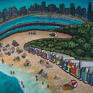 """(CreativeWork)  """"A Day At Brighton Beach"""" Limited Edition Print of 5 ~ Signed & Numbered by Artist ~ Archival Quality 380gsm canvas cotton-poly blend ~ Ready to hang  & send Ed. 2 of 5 by Helen Pynta. print. Shop online at Bluethumb."""