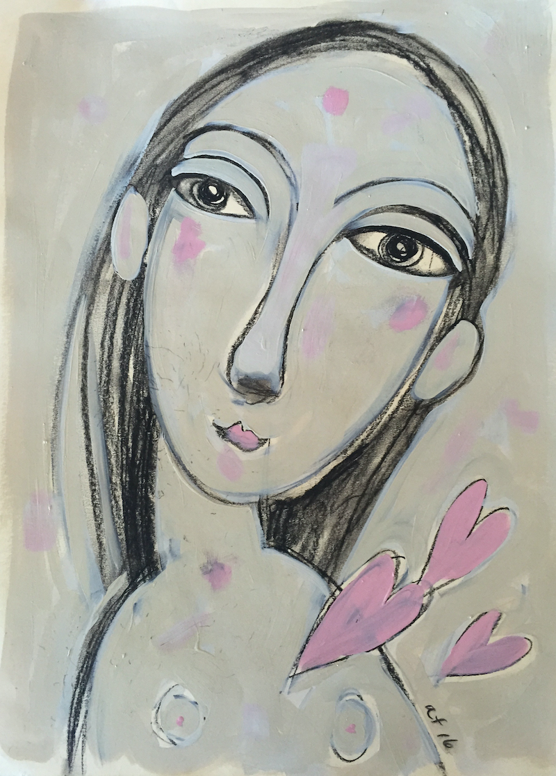 (CreativeWork) girl with pink heart by alexa e franka. mixed-media. Shop online at Bluethumb.