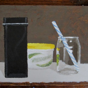 (CreativeWork) Still Life with Glass Bottle and Stripy Straw  - Shellie Cleaver by Shellie Cleaver. arcylic-painting. Shop online at Bluethumb.