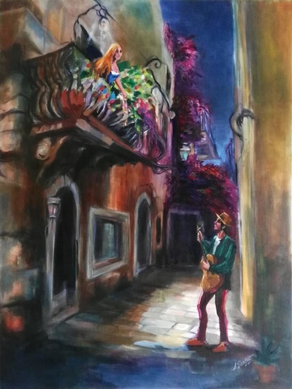(CreativeWork) ROMEO AND JULIET by Lynne Parfitt. oil-painting. Shop online at Bluethumb.
