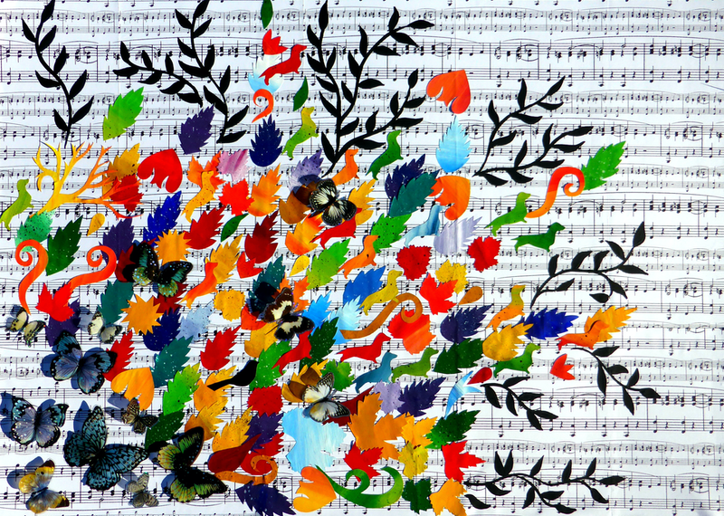 (CreativeWork) Burst of Joy by Cathy Snow. mixed-media. Shop online at Bluethumb.