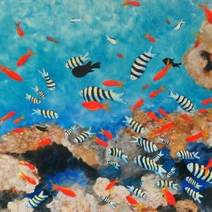 (CreativeWork) CORAL WITH RED AND STRIPED FISH   by Bob Murphy. mixed-media. Shop online at Bluethumb.