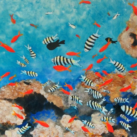 (CreativeWork) CORAL WITH RED AND STRIPED FISH   by Bob Murphy. Mixed Media. Shop online at Bluethumb.