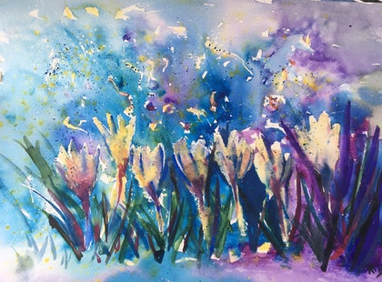 (CreativeWork) Rainflowers (zephyranthes) by Ruth Bye. watercolour. Shop online at Bluethumb.