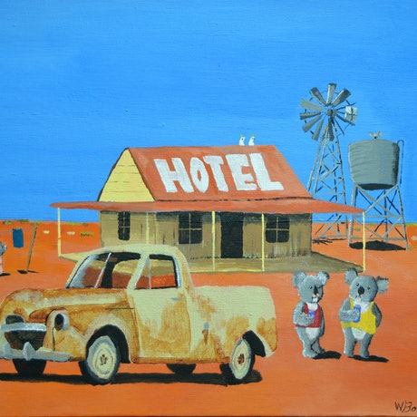 (CreativeWork) The Aussie Hotel by Winton Bochanowicz. Acrylic Paint. Shop online at Bluethumb.