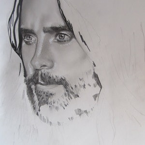 (CreativeWork) Jared Leto by Sky Parra. drawing. Shop online at Bluethumb.