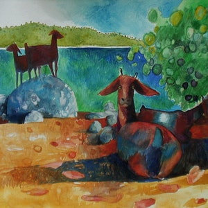 (CreativeWork) Tropical landscape with goats  by John Graham. mixed-media. Shop online at Bluethumb.
