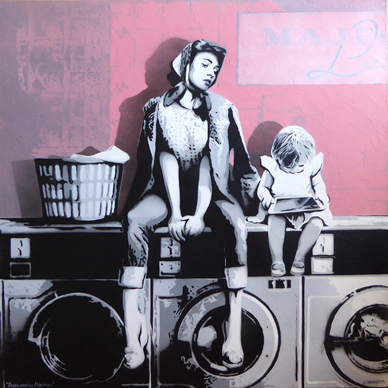 (CreativeWork) Brain-washing Machines by Geoff Cunningham. mixed-media. Shop online at Bluethumb.