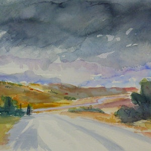 (CreativeWork)  South Australian Landscape via Yacka:  Aproaching storm. by Virginia McGowan. watercolour. Shop online at Bluethumb.