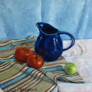 (CreativeWork) Still life with lime by Liza Merkalova. oil-painting. Shop online at Bluethumb.