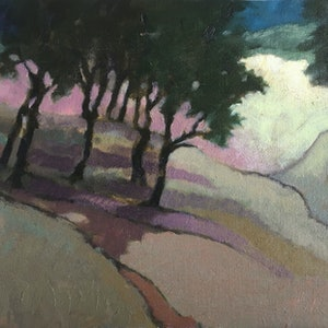 (CreativeWork) Landscape with Trees by Roz McQuillan. oil-painting. Shop online at Bluethumb.