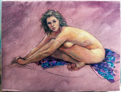 """(CreativeWork) """"Lucy"""" - female nude by Roz McQuillan. oil-painting. Shop online at Bluethumb."""