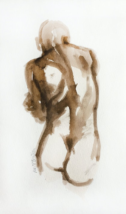 (CreativeWork) Male  Nude Torso by Roz McQuillan. watercolour. Shop online at Bluethumb.