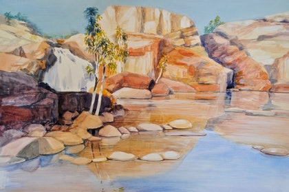 (CreativeWork) Katherine Gorge NT by Carol Croad. watercolour. Shop online at Bluethumb.