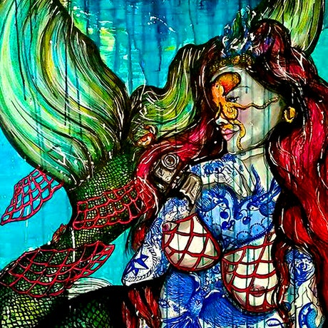 (CreativeWork) Modern Mermaid Tale by Kelly-Anne Love. Watercolour Paint. Shop online at Bluethumb.