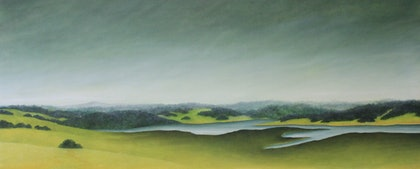 (CreativeWork) Colloquium-Lake Merrimu by Julie-anne Armstrong-Roper. oil-painting. Shop online at Bluethumb.