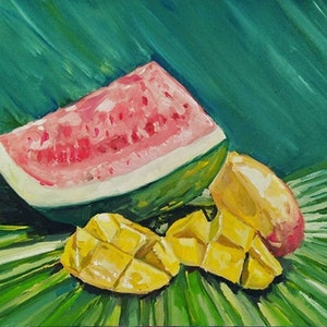 (CreativeWork) Tropical Fruit by Jacob Butler. oil-painting. Shop online at Bluethumb.