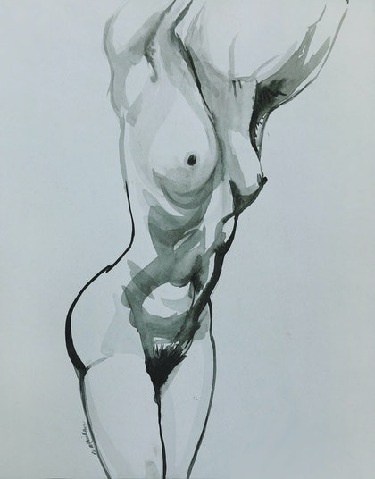 (CreativeWork) Female Nude Torso by Roz McQuillan. watercolour. Shop online at Bluethumb.
