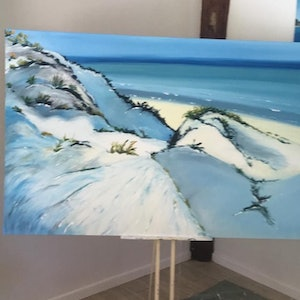 (CreativeWork) Over the dunes by Berni Jakstas. oil-painting. Shop online at Bluethumb.