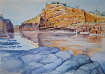 (CreativeWork) Katherine Gorge 2 by Carol Croad. watercolour. Shop online at Bluethumb.