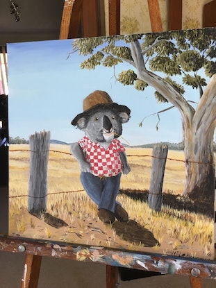 (CreativeWork) The Aussie Koala by Winton Bochanowicz. Acrylic Paint. Shop online at Bluethumb.