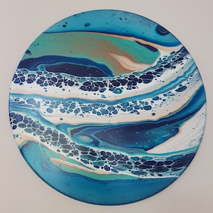 (CreativeWork) SAND AND SEA by Clare Riddington Jones. arcylic-painting. Shop online at Bluethumb.