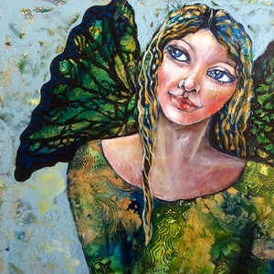 (CreativeWork) Finding Your Wings by Cheryle Bannon. mixed-media. Shop online at Bluethumb.