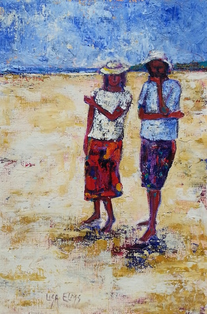 (CreativeWork) Fraser Island Talk by Lisa Elms. arcylic-painting. Shop online at Bluethumb.