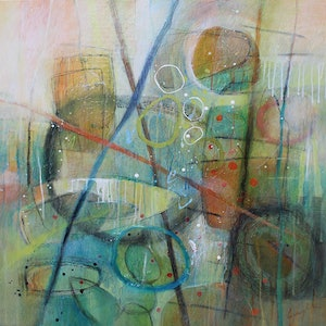 (CreativeWork) 'Sunrise Spring' by Tracey Creighton. mixed-media. Shop online at Bluethumb.
