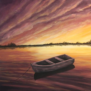 (CreativeWork) Drifting on a Sunset by Jenny Care. arcylic-painting. Shop online at Bluethumb.