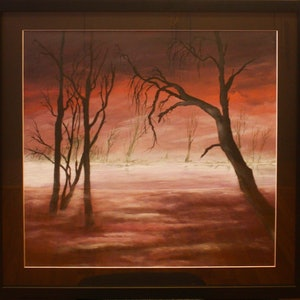 (CreativeWork) Mist on the Lake by Jenny Care. arcylic-painting. Shop online at Bluethumb.