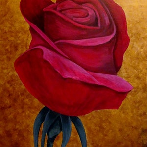 (CreativeWork) Red Rose Valentine by Julie-Anne Gatehouse. arcylic-painting. Shop online at Bluethumb.
