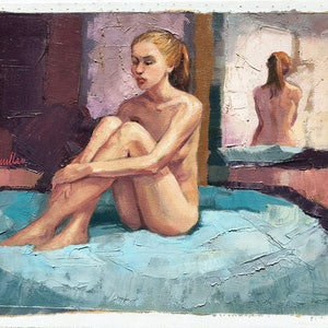 (CreativeWork) Female Nude and Reflection by Roz McQuillan. oil-painting. Shop online at Bluethumb.