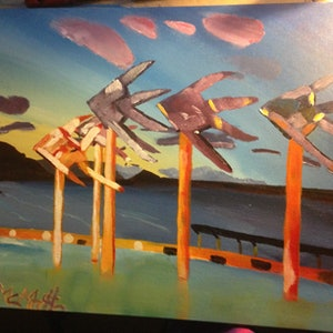 (CreativeWork) Cairns Boardwalk by Joshua Escaravage. arcylic-painting. Shop online at Bluethumb.