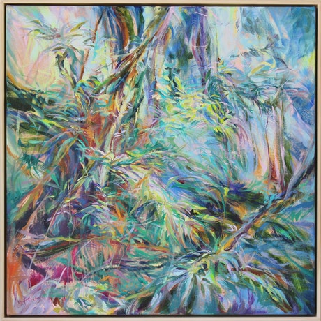 (CreativeWork) Cascade of Leaves by In Sun Park. Oil Paint. Shop online at Bluethumb.