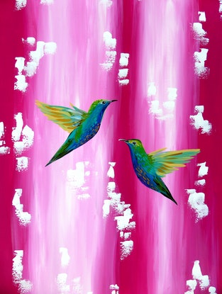 (CreativeWork) Hummingbirds in love by Cathy Snow. Acrylic Paint. Shop online at Bluethumb.