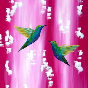 (CreativeWork) Hummingbirds in love by Cathy Snow. arcylic-painting. Shop online at Bluethumb.