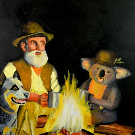 (CreativeWork) The Swagman and the Koala by Winton Bochanowicz. Acrylic Paint. Shop online at Bluethumb.