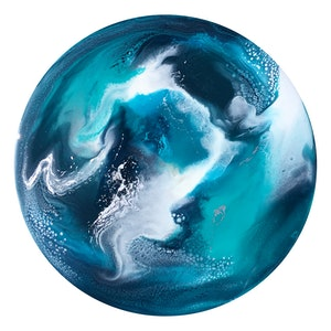 (CreativeWork) GLACIAL TWILIGHT - ROUND ORIGINAL RESIN ART PAINTING   by Deborah O'Loughlin. resin. Shop online at Bluethumb.