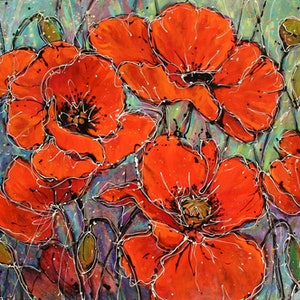 (CreativeWork) 'Poppy Perfection' by Tracey Creighton. arcylic-painting. Shop online at Bluethumb.