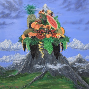 (CreativeWork) The Summit Fruits by Luke Cirsky. oil-painting. Shop online at Bluethumb.